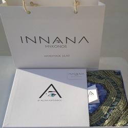 Συσκευασία τον προϊόντων για την εταιρία Innana Hand painted silk.